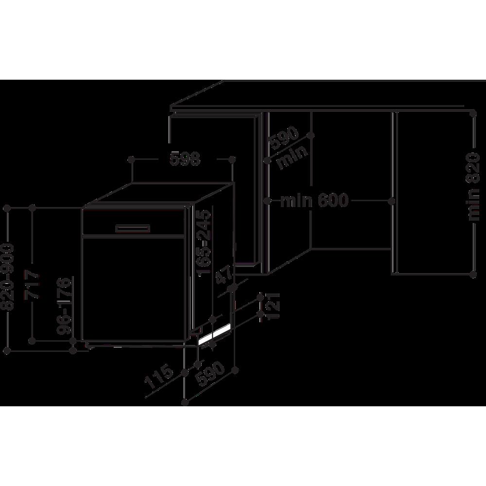 Bauknecht Dishwasher Einbaugerät BUC 3B+26 X Unterbau A++ Technical drawing